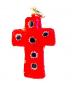 Крестик из муранского стекла (розовый с серыми цветами)