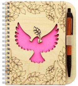 Деревянный блокнот с ручкой. Голубь на розовом фоне