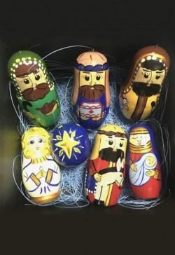 Набор фигурок в виде матрёшек. Рождественский вертеп (с петелькой для подвеса к ёлке)