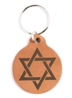 Брелок из натуральной кожи (коричневый). Звезда Давида