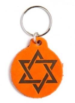 Брелок из натуральной кожи (оранжевый). Звезда Давида