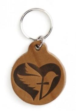 Брелок из натуральной кожи (коричневый). Сердце, голубь, крест