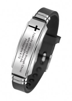 Браслет силиконовый со стальной пластиной. Я могу все делать через Христа, который укрепляет меня