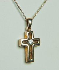 Серебряный крестик с белым фианитом (3969)