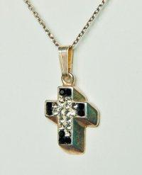 Серебряный крестик с белыми и черными фианитами (3972)