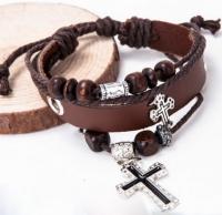 Браслет кожаный с крестиками