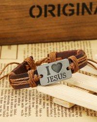 Браслет кожаный I Love Jesus (со светло-коричневыми завязками)