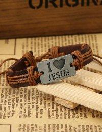 Браслет кожаный I Love Jesus (с коричневыми завязками)