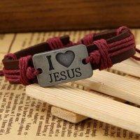 Браслет кожаный I Love Jesus (с красными завязками)