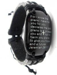 Браслет кожаный  со стихом из книги Иеремия 29:11 (на английском языке)