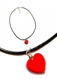 Подвеска Сердце из красного муранского стекла с золотым (на шнурке)