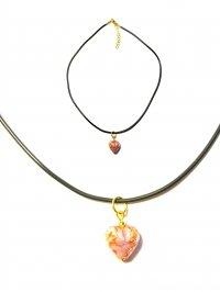 Подвеска Сердце из прозрачного с золотом муранского стекла (на шнурке)