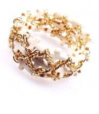 Браслет плетеный «золотая» цепь с крестами из белого камня