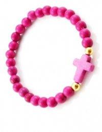 Браслет из розовых каменных бусин с крестом