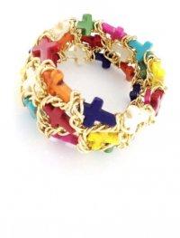 Браслет плетеный «золотая» цепь с крестами из цветного камня