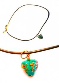 Подвеска Сердце из зеленого с золотом муранского стекла (на шнурке)