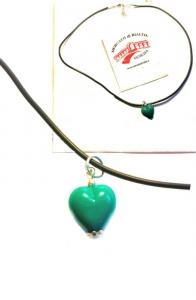 Подвеска Сердце из муранского стекла (цвет зеленый на шнурке)