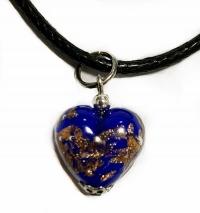 Подвеска Сердце из черного с золотом муранского стекла (на шнурке)