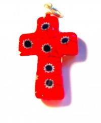 Крестик из муранского стекла (красный с синими цветами)