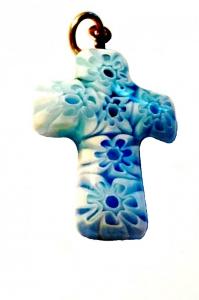 Крестик из муранского стекла (бело-голубой)