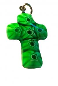 Крестик из муранского стекла (зеленый с белыми цветами)