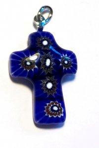 Крестик из муранского стекла (синий с коричневыми цветами)