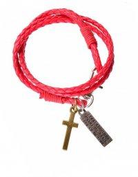 Браслет кожаный, плетеный с подвесками крест и скрижалька (красный)