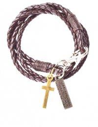 Браслет кожаный, плетеный с подвесками крест и скрижалька (коричневый)
