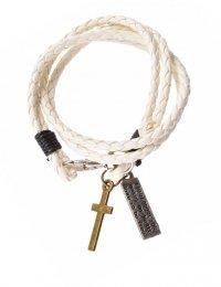Браслет кожаный, плетеный с подвесками крест и скрижалька (белый)