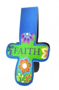 Магнитная закладка для книг в форме креста. FAITH (Вера) с цветами