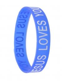 Браслет силиконовый «JESUS LOVES YOU» (голубой)