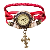 Часы наручные женские с белым плетеным браслетом