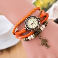Часы наручные женские с красным плетеным браслетом