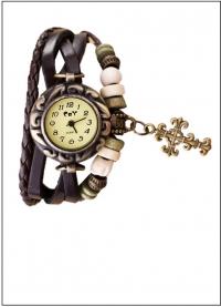 Часы наручные женские с темно-коричневым плетеным браслетом