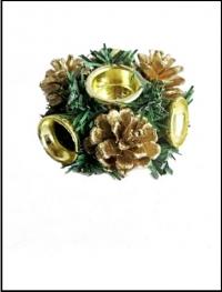 Подсвечник. Рождественский венок (цвет золотой)