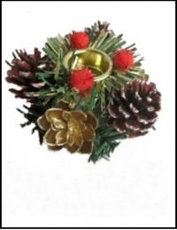 Подсвечник. Рождественский венок (цвет красный)