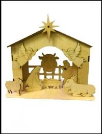 Вертеп. Сцена Рождества (сборная деревянная модель) Средний