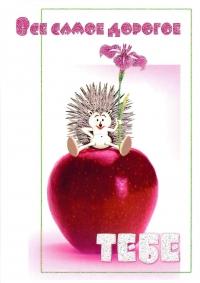Открытка «Все самое дорогое - ТЕБЕ». Ёжик с цветком (двойная в конверте)