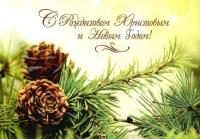 Открытка «С Рождеством Христовым и Новым Годом!». Еловые ветки с шишками (двойная в конверте)