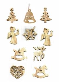 Набор деревянных подвесок (в ассортименте, 10 штук)