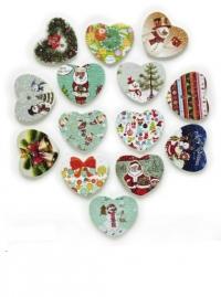 Набор рождественских пуговиц. Сердечки (50 штук)