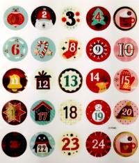 Набор рождественских наклеек. Цифры