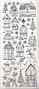 Набор рождественских наклеек. Серебрянные надписи