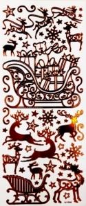 Набор рождественских наклеек. Бронзовый декор
