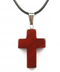 Кулон в виде креста из натурального камня (яшма красная)