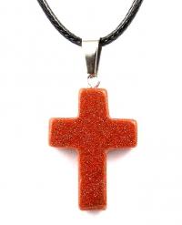 Кулон в виде креста из натурального камня (авантюрин)