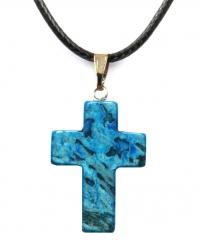 Кулон в виде креста из натурального камня