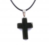 Кулон в виде креста из натурального камня (черный оникс)