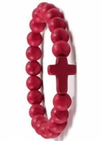 Браслет из красных каменных бусин с крестом