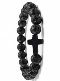 Браслет из натурального камня черной вулканической лавы с крестом